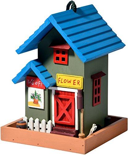 dobar 25108FSC Buntes Deko Vogelhaus Western zum Aufhängen aus Holz, Futterhaus Flower Shop, bunt
