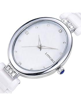 Longbo Damen Luxus Keramik Band Business Armreif Uhr Silber Oval Fall Armband Handgelenk Kleid Uhren Fashion Wasserdicht...
