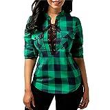 Langarmshirt Damen Karierte Bluse Elegant Mode Vintage Hippie Blusen Langarm V Ausschnitt Casual Karohemd Hemdbluse Tops Oberteile