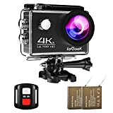 ieGeek [Updated Version] Sport Action Camera 4K 30fps Ultra HD Camcorder 16MP WiFi Waterproof Camera with 2 Rechargeable 1050mAh Batteries/2.4G Remote Control/170° Wide View Angle/2 Inch LCD Screen