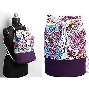 Lila Rucksack mit Mandala, vegane Yoga Sporttasche, großer Seesack aus Canvas