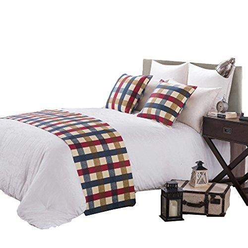 Yazi Moderne Luxus Bettläufer Gesteppt Weich Überwurf für Hotel Schlafzimmer Decor Grid 50x 210cm-fit für 1,5m Bett