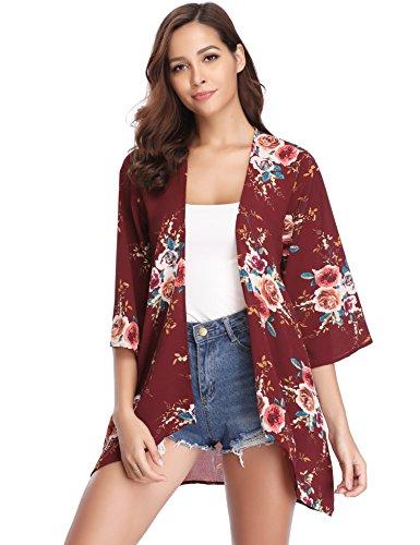 Damen Chiffon Kimono Cardigan Blumen Print 3/4 Arm Sommer Cover up Leichte Jacke Strand