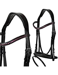 heinick de hípica ~ Comfort–Bocado inglés Combina Purple ~ Equestrian–Brida mediasangre, purasangre, negro
