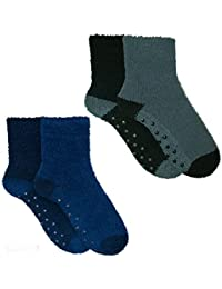 4 Pairs Mens Boys Cosy Socks Slipper Bed Super Soft Fluffy Fleece Warm Thermal Non Slip