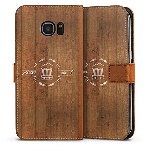 DeinDesign Tasche kompatibel mit Samsung Galaxy S7 Edge Leder Flip Case Ledertasche Bier Oktoberfest München -