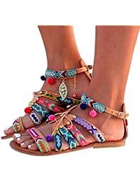 Sandalias mujer, Manadlian Sandalias Bohemia Mujer chanclas de señoras Zapatos bajos Sandalias de cuero de Gladiador Pom Pom Sandalias de piel Zapatos de planas Zapatos de playa Calzado
