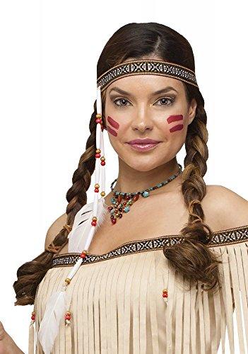 shoperama Stirnband mit Federn und Perlen für Indianerin-Kostüm Kostümzubehör Kopfschmuck
