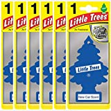Air Freshener - LITTLE TREES 'Tree' - 'New Car' Fragrance MTZ02 - For Car And Home - 6 Pack