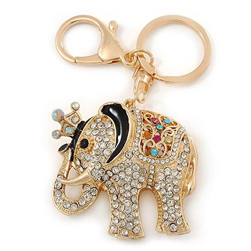 Avalaya Llavero de Elefante de Cristal de Quinn/de Adorno para el Bolso en bañados en Oro - 11 cm L