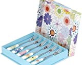 Portmeirion Set Of Six Porcelain And Stainless Steel 'Crazy Daisy' Pastry Forks