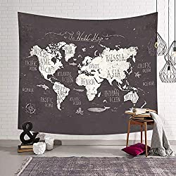 Mapa del mundo Tapiz Pared de Creativo Tapicería Tapices Impreso,Chickwin Decoración Cubierta del Sofa Manteles Cortina Picnic Blanket Playa Accesorio Casero Hippie Yoga (Pequeño (130 x 150 cm), Fondo marrón)