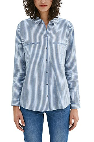 edc by ESPRIT Damen Regular Fit Bluse 037CC1F012, , , , , Gr. 38 (Herstellergröße: M), Blau (Light Blue 440)