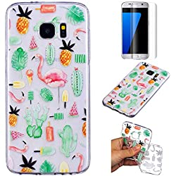 Funda Samsung Galaxy S7 Edge Silicona Transparente,QFUN Suave Carcasa Flexible con Dibujos [Flamencos] Ultra Slim Fina Gel TPU Bumper Case Anti-rasguños Antigolpes Cubierta y Protector Pantalla para Samsung Galaxy S7 Edge