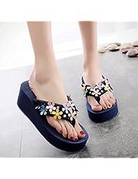 FLYRCX Damen Sommer Mode outdoor Fuß clip flip flops Anti rutschig high heel Hausschuhe Badeschuhe,38 EU, d
