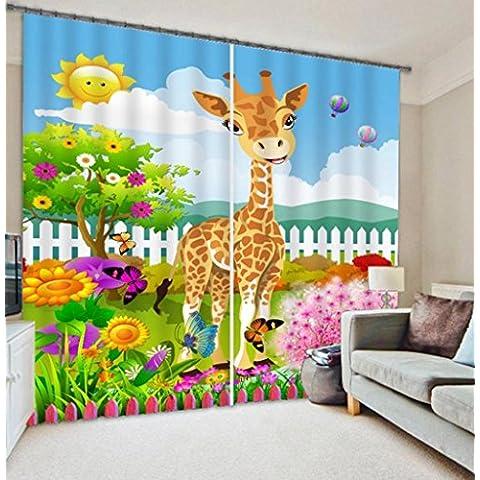 GYMNLJY Tende 3D Cartoon animali parco bambini bellezza stampa finestra