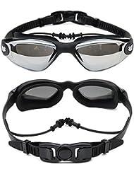 Semoss Unisex Gafas de Natacion Anti Niebla Gafas Piscina Proteccion UV Swimming Goggles y Tapón de oreja Ajustable Para Adultos Hombres,Mujeres,Niños y Jóvenes -Negro