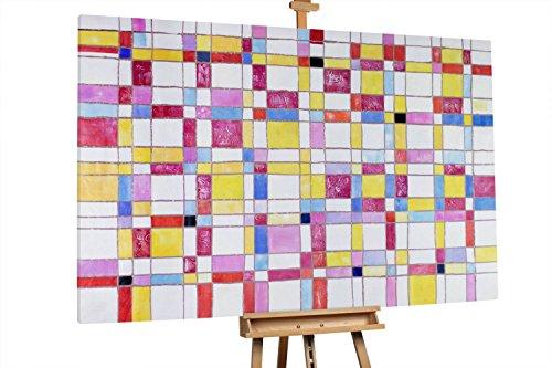 'Puzzle der Vernunft' 180x120cm | Abstrakt Muster Quadrate Bunt XXL | Modernes Kunst Ölbild