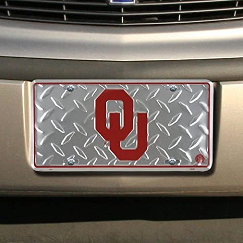 Oklahoma University Diamond Cut NCAA Tin License Plate