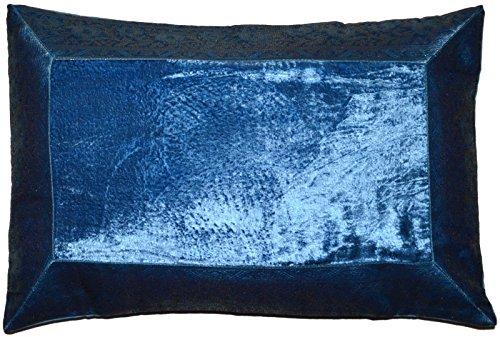 Deko Kissenbezug Kissenhülle Samt Brokat Asiatisch Indisch Orientalisch Bezug Kissen 50x30 cm (Blau)