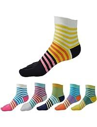 Panegy – Lot de 6 paires de Chaussettes Fantaisie Socquettes 5 Orteils doigts en Coton Mixte Chaussettes pour Femme – couleur disponible