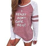 SEWORLD 2018 Damen Mode Sommer Herbst Beiläufige Brief Drucken Langarm Spleißen Bluse Tops Kleidung T-Shirt(A-d-Rosa,EU-42/CN-M)