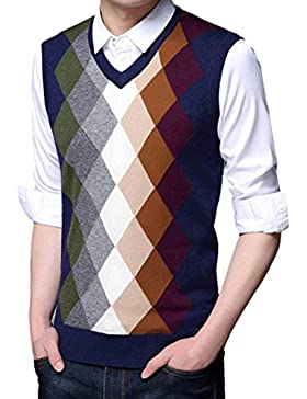 Zhhlinyuan alta calidad Mens Men's Father Business Spring Soft Sleeveless Rhombus Pattern V-neck Pullover Knitted...