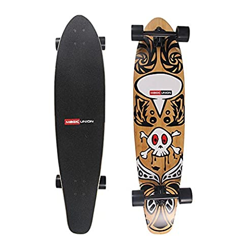 MAGIC UNION 41 Inch Complete Maple Bamboo Skateboard Longboard Super Cruiser Fish Tail