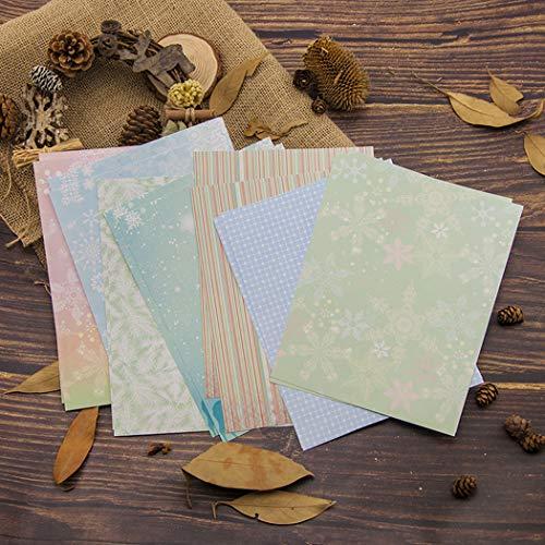 BINGMAX 14pcs Gemustertes Papier Scrapbooking Romantische Winter Schneeflocke Album Scrapbook Karten Hintergrund Papier 15x20m