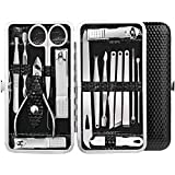 Hudabeauty Manicure Pedicure 16 Tools Set Nail Clippers Stainless Steel Professional Nail Scissors Grooming Kits, Nail Tools with Leather Case -color may very Black -Red