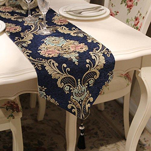 GNOW Tisch-Läufer Tabelle Flagge Modernen Europäischen Luxus Chenille Amerikanischen Tischdecke Pastorale Schuhschrank Xuan Guan Dekorative Tuch Lange Mahlzeit Fahnenstoff, Marine, 33 * 210 Cm.