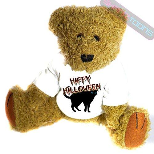 henk Teddy Bär–Gruselige schwarze Katze Geschenk bedruckt Teddy T Shirt–23cm hoch stehend (Bär Happy Halloween)