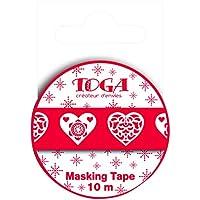 Toga MT42nastro di mascheratura cuori scandinavi Washi Tape Rosso/Bianco 5,5x 7x 1,5cm
