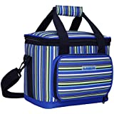 MIER 18 Cans Stripe Picnic Cooler Bag Adult Insulated Lunch Box Bag for Men and Women(Blue)