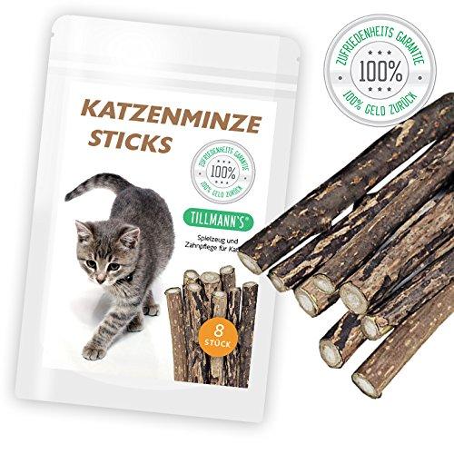 Katzenminze | Katzenspielzeug | 8 extra dicke hochwertige Sticks | Kaustäbchen in naturreiner Qualität | Fördert den Spieltrieb | Katzenminzsticks unterstützen eine natürliche Zahnpflege | Verhilft bei Mundgeruch & Zahnstein | Premiumqualität von HappyPets by Tillmann's ® Deutschland