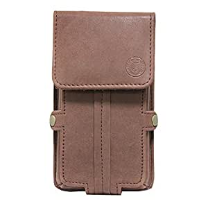 Jo Jo A6 Nillofer Series Leather Pouch Holster Case For Intex Aqua Power II Dark Brown