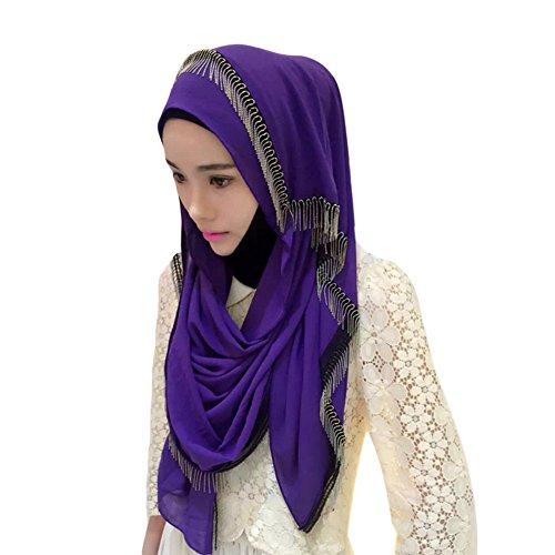 Meijunter Muslim Femmes Métal Gland Longue Couvercle de tête Middle East Chiffon Hijab Châle Écharpe purple