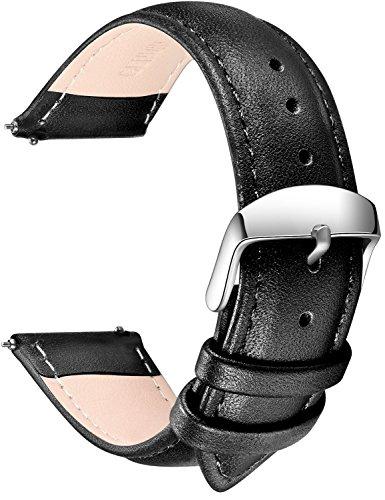 Echtes Leder Uhrenarmband, SONGDU Smart Watch Armband Schnellverschluss Ersatzband für Herren Damen mit Edelstahl Metall Schließe 16mm,18mm, 20mm, 22mm, 24mm (20mm, Schwarz)