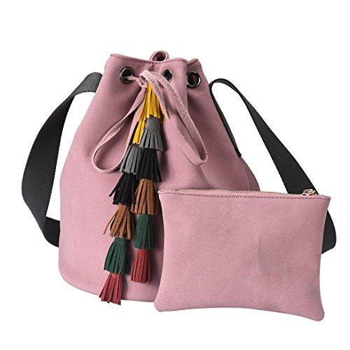 Xjp Fashion Women PU Leather Handbag Shoulder Bags Purse with Tassels Rosa