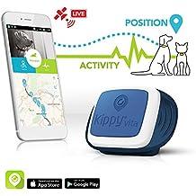Kippy Vita,  Rastreador de GPS y monitor de actividad para mascotas, Localizador GPS para perros y gatos, Azul (Navy Patrol)