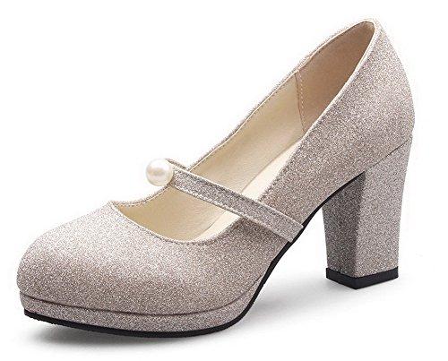 VogueZone009 Femme Dépolissement Couleur Unie Tire Rond à Talon Correct Chaussures Légeres Doré