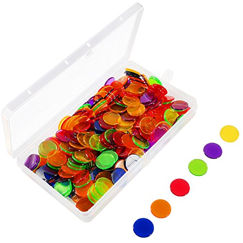 Keriber 204 Pieces Bingo Chips Transparent color counters counting plastic markers with storage bag