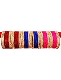 A.B.S. By Allen Schwartz 3 Colours Metal Bangles Set Traditional & Wedding For Women & Girls With Zerqin Bangles...