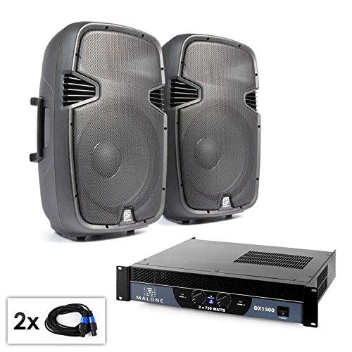 Wireless Range Amplifier (PA Set SPJ Boom 15 Passives PA-Lautsprecher PA-Boxen Paar mit Verstärker(2x 300W RMS 38cm 2-Wege Lautsprecherbox, 1500W 2-1-Kanal Verstärker, Flansch zum Stativaufbau, inkl. 2x 5m Boxenkabel))