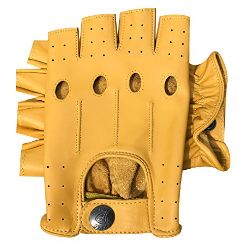 Prime 309 Fingerlose Handschuhe, echtes Leder, für Motorradfahren, Halbfinger, Gelb