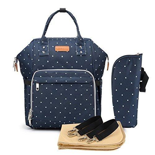 Multifunción pañal bolsa de pañales cambiador de viaje, gran capacidad mochila bolsa reutilizable, ligero elegante Durable Mochila con bolsillo botella aislante para mamá y papá (Bodian Azul)