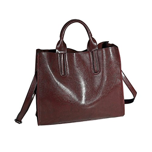 Dame Retro Normallack-Leder-diagonale Schulter-Handtasche,Black Crimson