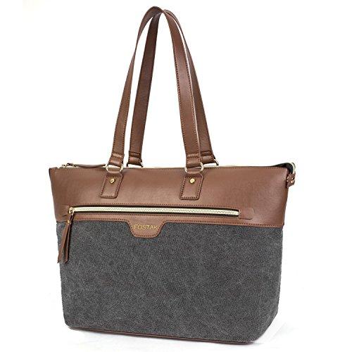 FOSTAK Damen Umhängetasche Business Tote Bag Handtasche Stilvoll Shopper Tragbar Schultertasche / 15.6 inch Laptop Tasche für 15-15,6 Zoll Notebook/MacBook,Canvas Grau (Bag Pc Tote)