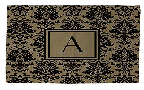 Manuelle holzverarbeiter & Weavers Dobby Bad Teppich, 4von druckknopfstiel, Monogramm Buchstabe A, schwarz und gold Damast