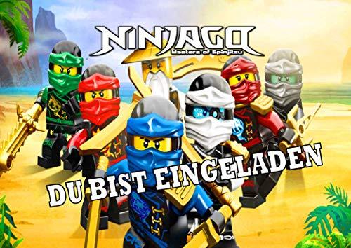 TV-24 Einladungskarten 12er Set + 12 Umschläge Kindergeburtstag kompatibel mit Ninjago T1